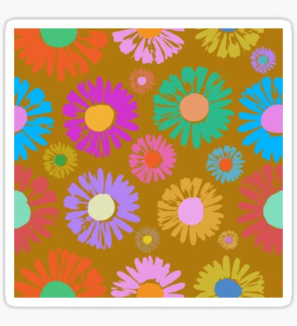 Pop Art Flowers on Gold Glossy Sticker