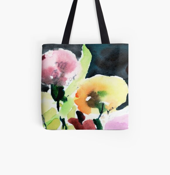 Pink & Yellow Flowers All Over Print Tote Bag