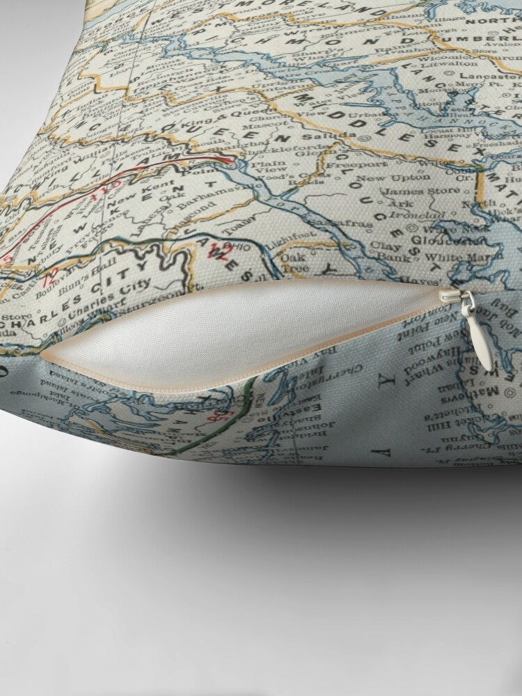 Alternate view of Vintage Map of the Chesapeake Bay (1901) Throw Pillow