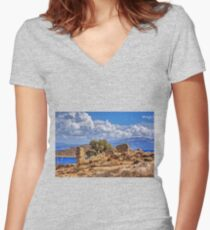 Chalki Ruin Women's Fitted V-Neck T-Shirt