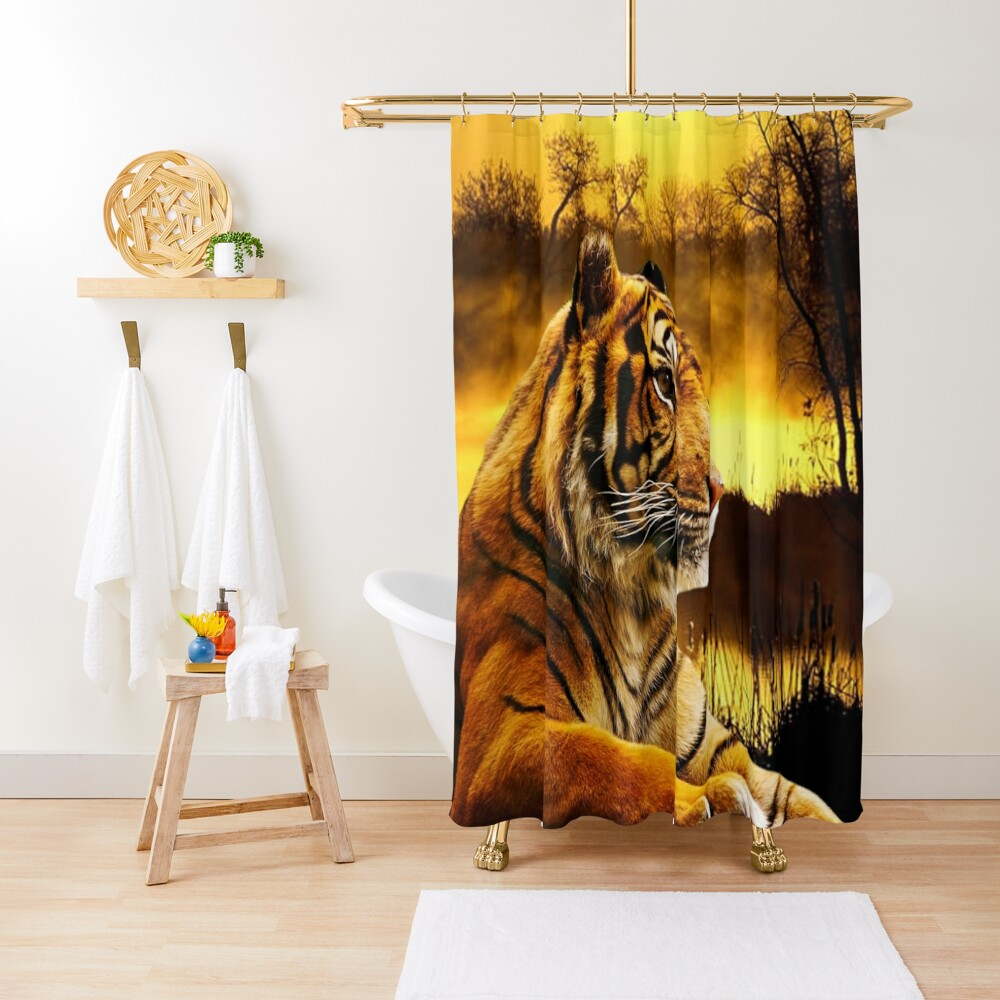 Tiger and Sunset Shower Curtain