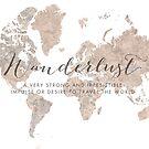 Fernweh-Weltkarte in neutralen Aquarellen von blursbyai