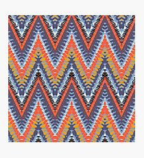 Bohemian print with chevron pattern in cool colors Photographic Print