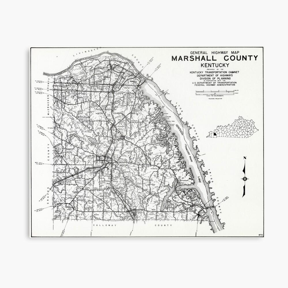 Marshall County, Kentucky Karte Leinwanddruck