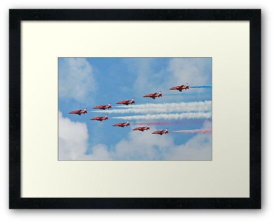 Red Arrows in flight by David Fowler
