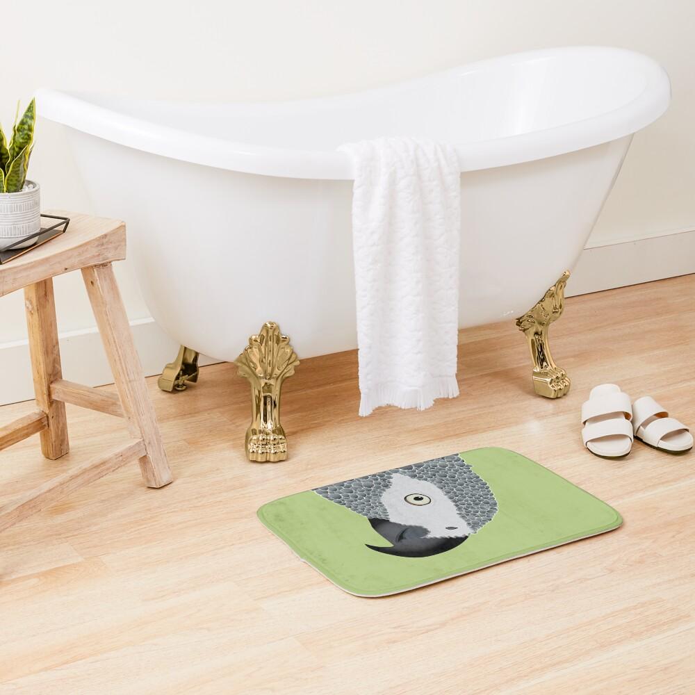 African Grey Parrot [ON MOSS GREEN] Bath Mat