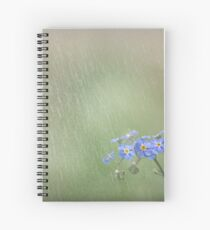 Forget Me Not in the Rain Spiral Notebook