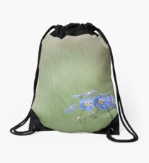 Forget Me Not in the Rain Drawstring Bag