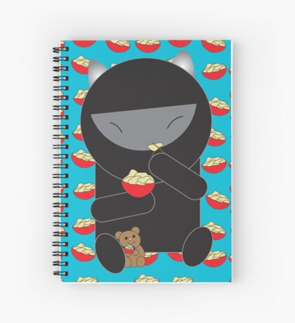 Ninja Kitty Eating Noodles Spiral Notebook