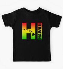 Big Hawaii HI - Rasta Surfer Colors Kids Tee