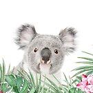 Koala, tropische Blätter und Blüten, Tier, Kinderzimmer, trendige Einrichtung, Interior Kunstdruck von juliaemelian