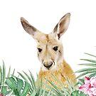 Känguru, tropische Blätter und Blüten, Tier, Kinderzimmer, trendige Einrichtung, Interieur Kunstdruck von juliaemelian