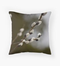 Pussy Willow in the Rain Throw Pillow