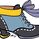 Fluevog Investigator -- Blue / Black / Yellow / Purple by anne m bray