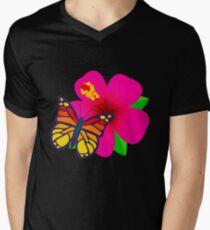 Butterfly on Pink Hibiscus Flower Joypixels Emoji V-Neck T-Shirt