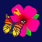 Butterfly on Pink Hibiscus Flower Joypixels Emoji by sandyspider