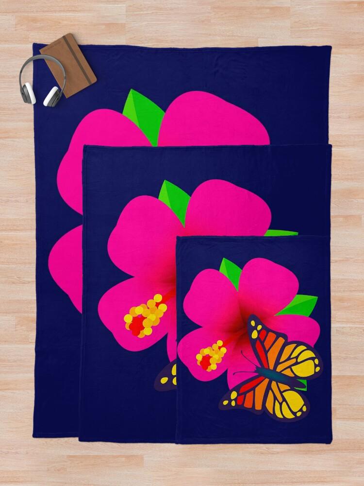 Alternate view of Butterfly on Pink Hibiscus Flower Joypixels Emoji Throw Blanket