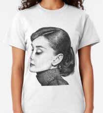 Audrey Hepburn Stippling Portrait Classic T-Shirt