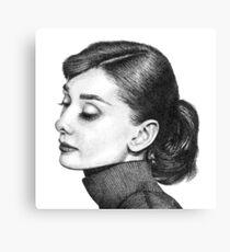 Audrey Hepburn Stippling Portrait Canvas Print