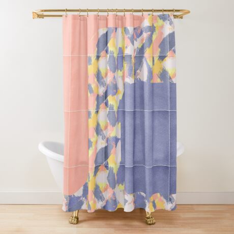 Messy Painted Tiles 01 #redbubble #midmod Shower Curtain
