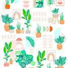 Mid Century Modern Tropical Plant Pattern by Dominiquevari