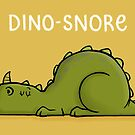 Dino-snore - Funny Cartoon Dinosaur Art Illustration by carlbatterbee