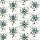 Love in a Mist The Romantic Nigella damascena flower repeat pattern light blue by DenesAnnaDesign