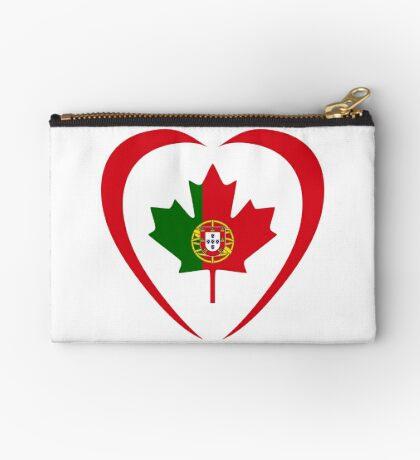 Portuguese Canadian Multinational Patriot Flag Series (Heart) Zipper Pouch
