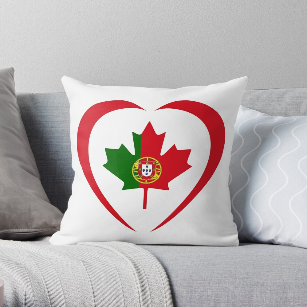 Portuguese Canadian Multinational Patriot Flag Series (Heart) Throw Pillow