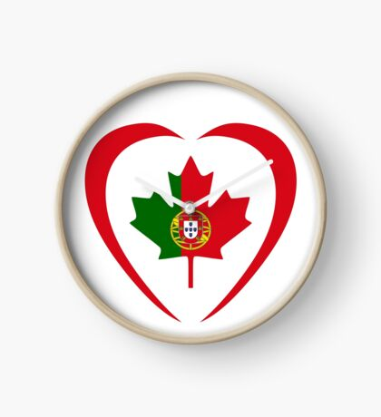 Portuguese Canadian Multinational Patriot Flag Series (Heart) Clock