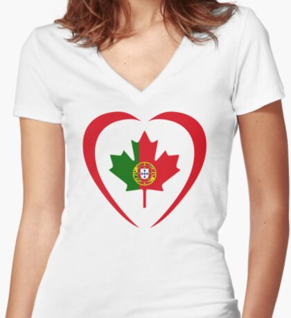 Portuguese Canadian Multinational Patriot Flag Series (Heart) Fitted V-Neck T-Shirt
