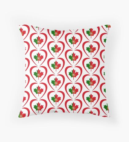 Portuguese Canadian Multinational Patriot Flag Series (Heart) Floor Pillow