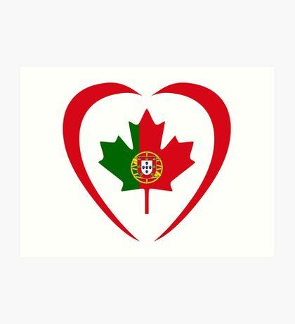 Portuguese Canadian Multinational Patriot Flag Series (Heart) Art Print