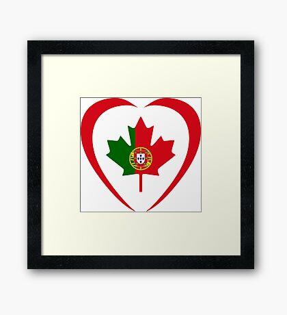 Portuguese Canadian Multinational Patriot Flag Series (Heart) Framed Print