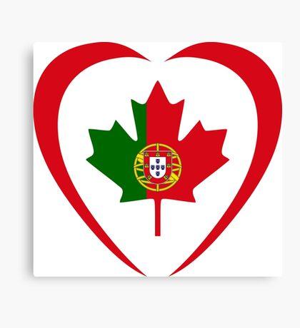 Portuguese Canadian Multinational Patriot Flag Series (Heart) Canvas Print