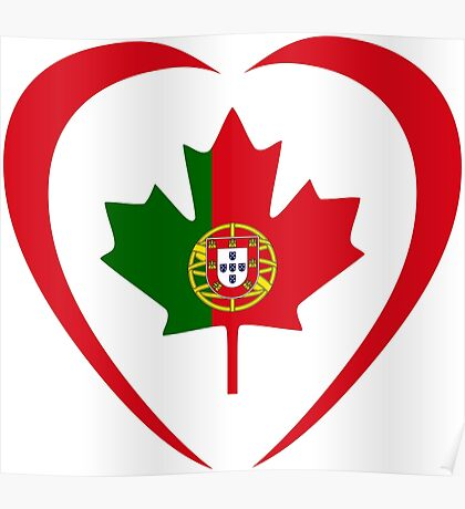 Portuguese Canadian Multinational Patriot Flag Series (Heart) Poster