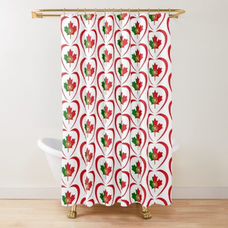 Portuguese Canadian Multinational Patriot Flag Series (Heart) Shower Curtain