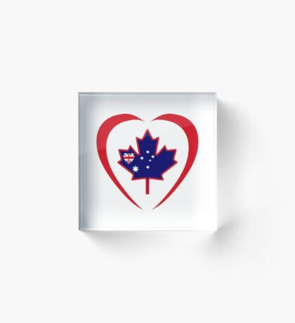 Australian Canadian Multinational Patriot Flag Series (Heart) Acrylic Block