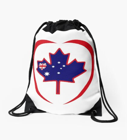 Australian Canadian Multinational Patriot Flag Series (Heart) Drawstring Bag