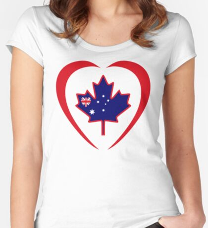 Australian Canadian Multinational Patriot Flag Series (Heart) Fitted Scoop T-Shirt