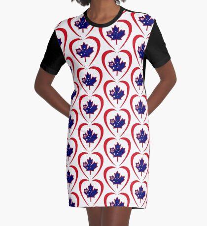 Australian Canadian Multinational Patriot Flag Series (Heart) Graphic T-Shirt Dress