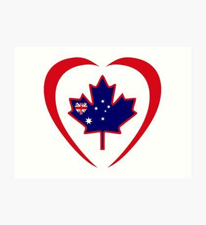 Australian Canadian Multinational Patriot Flag Series (Heart) Art Print