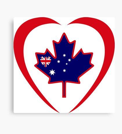 Australian Canadian Multinational Patriot Flag Series (Heart) Canvas Print