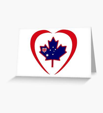 Australian Canadian Multinational Patriot Flag Series (Heart) Greeting Card