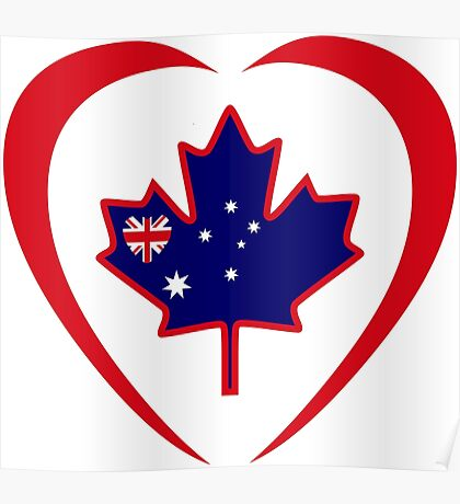 Australian Canadian Multinational Patriot Flag Series (Heart) Poster