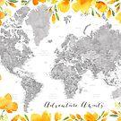 Abenteuer erwartet, graue Aquarellweltkarte mit US-Landeshauptstädten und Aquarell-Kalifornien-Mohnblumen von blursbyai
