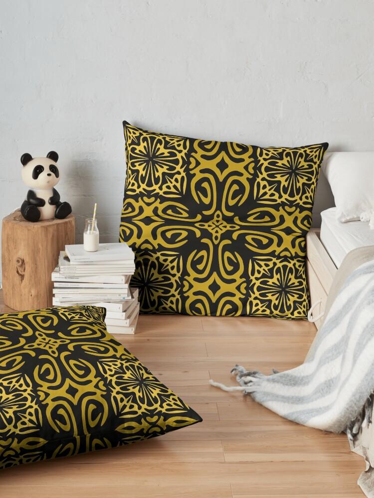 Alternate view of Retro Symmetry Gold Floor Pillow