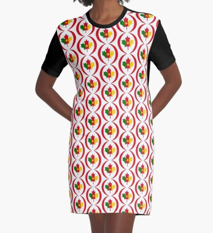 Cameroon Canadian Multinational Patriot Flag Series Graphic T-Shirt Dress