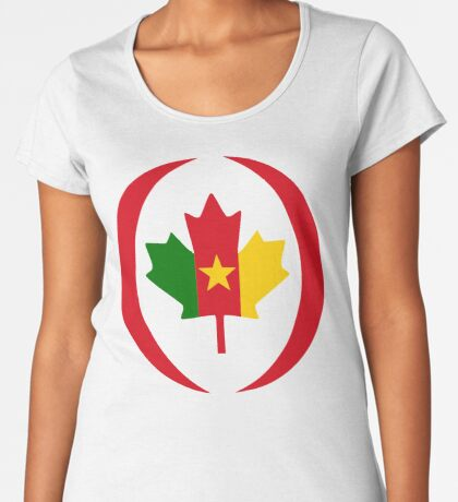 Cameroon Canadian Multinational Patriot Flag Series Premium Scoop T-Shirt