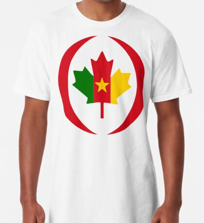 Cameroon Canadian Multinational Patriot Flag Series Long T-Shirt